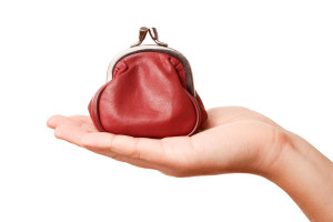 hand holding small red purse